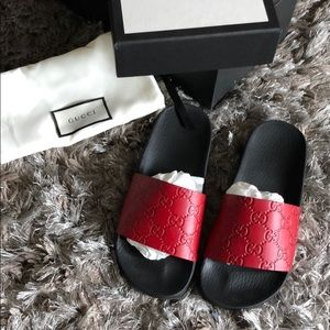 Gucci Shoes - Gucci leather red slides